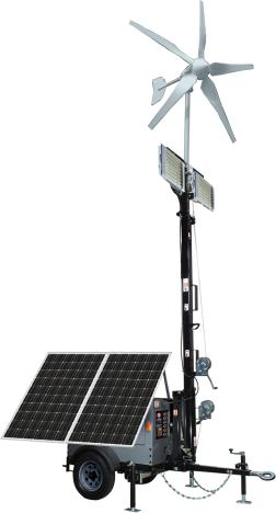 Optional Hybrid Solar/Wind Lighting Trailer System